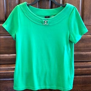 Women's Green Top Shirt Rafaella SZ M